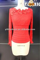 women red cotton embroidered peasant blouse