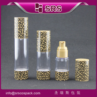 Alibaba sign in recycled cosmetic plastic spray pump bottle,15ml 30ml 50ml empty leopard print airless cosmetic pump bottle