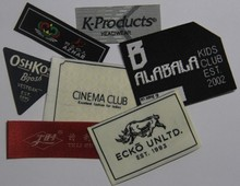 Standard make up clear high definition circle woven label by laser cut for knicks for gift