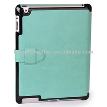 For iPad 3 Magnetic Smart Cover Leather Case,Shiny Baby Blue Leather Case With Stand And Strap For iPad 2 3 4