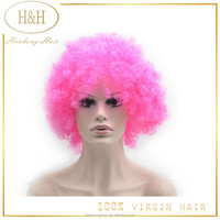Hot crazy fashional front lace short pink african american style afro wave virgin brazilian hair fan wig