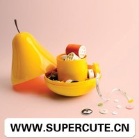 Best Selling product ABS Yellow color pear shape design plastic container with lid