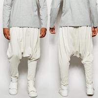 Hotsell good quality man street-style fashion lightwieght sweat side slant pockets drop crotch men harem pants