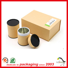 raw kraft food grade paper container paper tube with aluminium-foil paper inside tea/ coffee/ candy round box with tin lid