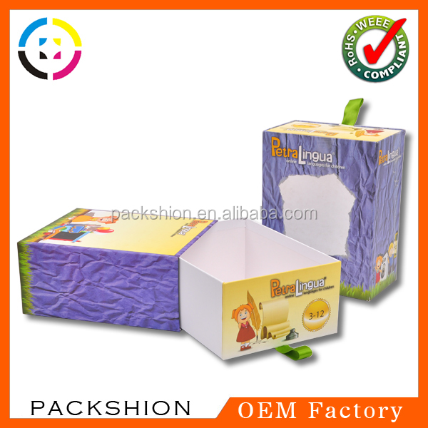 Sliding paper packaging boxes from dongguan