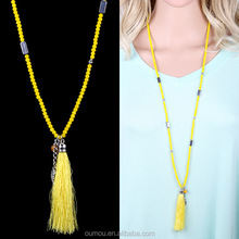Cotton Tassel Long Necklace Pendant Beads Chain Crystal Beaded Fringe Turkish, Glass Beads Tassel Necklace Wholesale