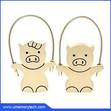 Metal pig shaped flash disk key chain usb flash pen drive hot sale usb flash disk