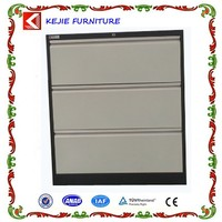 Austrilia Office Used Vertical 3 Drawer Metal File Cabinet Steel Drawer Cabinet with a central Lock