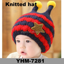 Factory direct sales winter promotional crochet striped baby crochet Hat with embroidery five-star and two horn