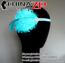 Elegant plume crafts factory wholesale bridal headband headpiece Turquoise Blue and Aqua Feather Headband