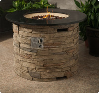 CE/CSA Round Marble Table Propane Gas fire pit Outdoor Gas Fire pit Table