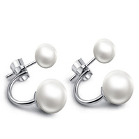 Fashion silver designs double sided pearl earring