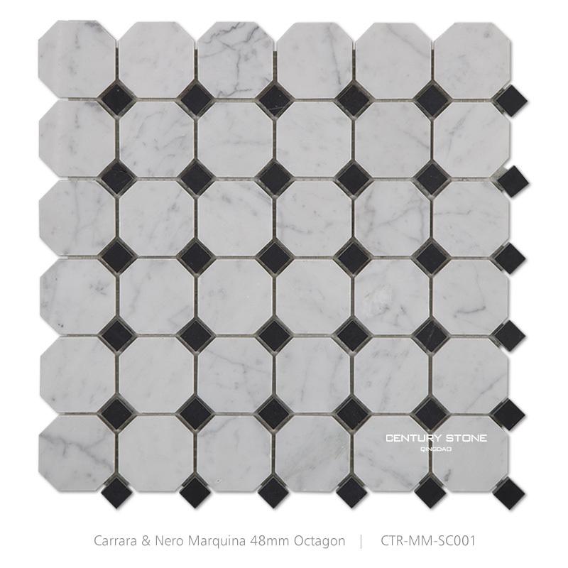 Black And White Mma Kitchen Backsplash Wall Marble Mosaic Octagon