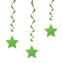 Hot sale GREEN Polka Style Party Hanging Star Cutout Foil Swirls Decorations