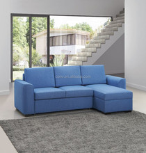 Guest Room Blue Fabric Pull Out Sofabed Corner