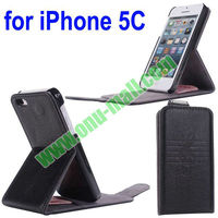 Hot selling Flip Vertical Genuine Leather Case for iPhone 5C