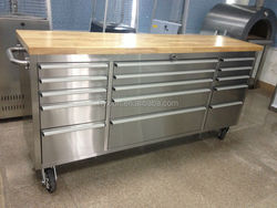 Metal tool box trolley with 15 drawers / with swival casters / with wood top