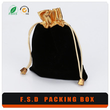 Cheap price wholesale black gold jewelry packaging bag