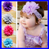 Wide lace with chiffon flower headband baby girls hair accessories