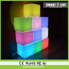LED modern furniture led cube table /glass cube reusable plastic cube table light garden led ball light