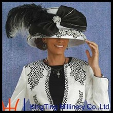 New Design Church Suit Women White Church Hat Ribbon Hat With Elegant Fancy Feather And Black Big Bowknot