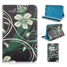 White Flower Flip Turn Stand TPU+PU Leather Tablet Case For Samsung Galaxy Tab 3 Lite 7inch T110/T111