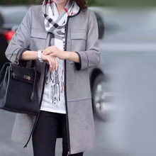 New Fashion Style Gray Color Women Leather Trench Coat