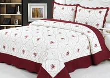 2015 New designs, Microfiber embroidery bedspread bedsheets quilt throw set