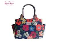 Two External Side Pocket Paradise Flowers Zipped Handbag