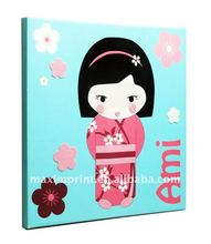 Nice Applique Craft Japanese girl style /canvas wall art