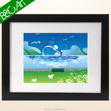 Lively cartoon dolphin and seagull seascape oil painting