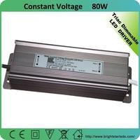 0-100% Dimming Range 80W 24V Triac Dimmable Constant Voltage LED Driver