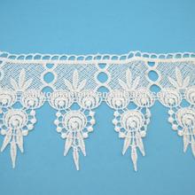 venta al por mayor blanco personalizado bordado de encaje de algodón