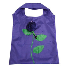 fancy colorful rose durable folding shopping bag plastic