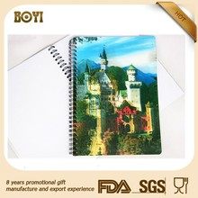 New Style Wholesale Custom 3D Cover Spiral Notebook,3d pattern notebook