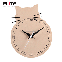 quartz wooden stand cat shaped desktop clocks