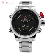 Luxury Mens Quartz Analog Stainless Steel Digital Big Case Red LED Sport Watch