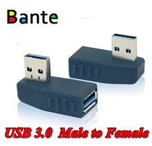 Black High Speed USB3.0 Male to Female Adapter USB 3.0 left/right Angle adapter