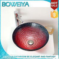 High Output Colorful Green Tinted Glass Wash Basin Sink