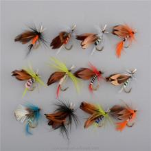 Promoción mosca ganchos de pesca 12 unids/set insectos estilo salmón moscas trucha individual Hook Dry Fly