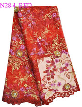 N28-4-RED african french lace with embroidery on sale