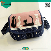 2015 fashionable wholesale durable skull colorful canvas long strap shoulder bag for girls nice cartoon design