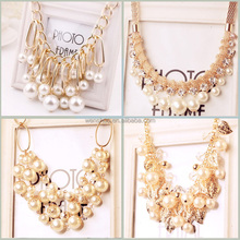 New Foreign Trade Aloy Hollow Pearl Hnadwork Necklace Jewelry
