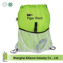 Green nylon mesh light to carry drawstring bag gym