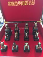Factory Supply Chinese Twelve Animal Zodiac Bronze-plated Jade Seal Craft