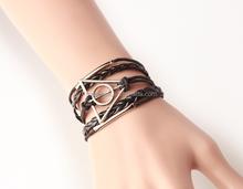 Pop leather braided bracelet triangle bracelet round bracelet jewelry