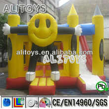 Smiling face cartoon commercial inflatable combo with slide