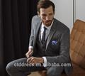 Gris de verificación, ropa formal, personalizado a medida de hombres 3- pieza traje de negocios