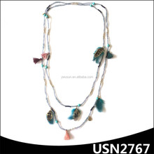 feather and tassel charm two layers long crystal seed bead patterns necklace