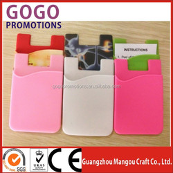 Promotional Gift 3M Card Wallet Silicone Back Phone Pouch, Top quality handy silicone phone 3M adhesive smart pocket wallet